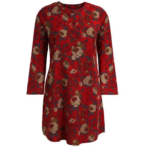Las mujeres de la vendimia de algodón floral vestido de lino de manga larga bolsillos Botones O vestido de cuello de la bata