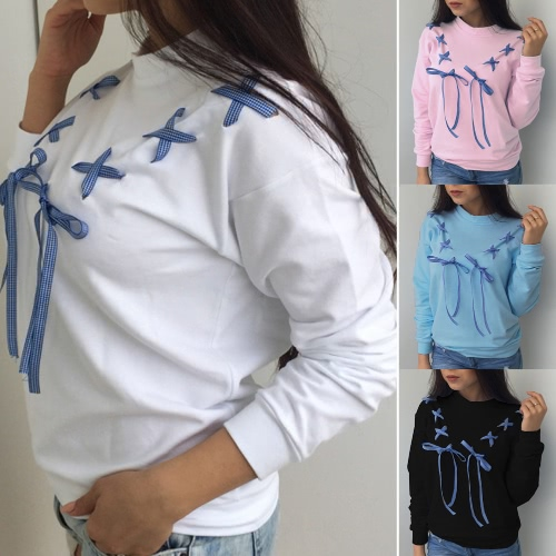 Felpe con cappuccio Sweatershirt Pullovers Bow Ribbon Maniche lunghe anteriori Jumpers Jumpers Casual Top Outwear