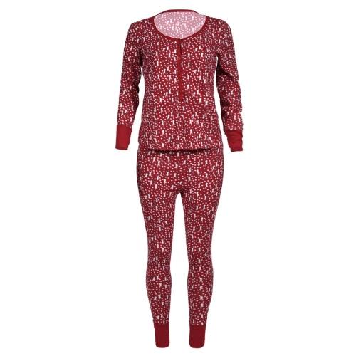 Set di pigiama a due pezzi da donna di Natale Set di indumenti da notte Renna Stampa Polka Dot Maniche lunghe Camicia da notte Rosso