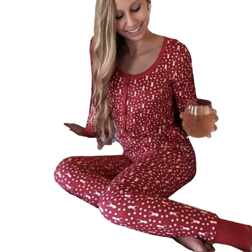クリスマスの女性の2ピースパジャマセットパジャマのトナカイプリントポルカドットロングスリーブナイトウェアレッド