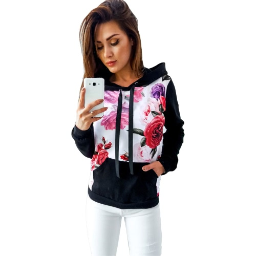 Outono Inverno Mulheres Hoodie impresso Hooded Casual Sweatshirt Tracksuit Pocket manga comprida Top Pullover