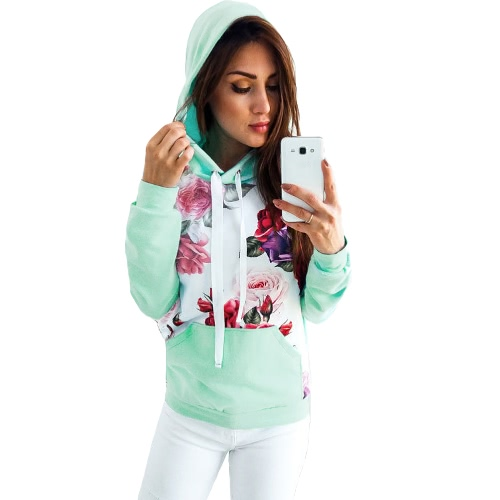 Autumn Winter Women Impreso con capucha Sudadera con capucha Casual Tracksuit Pocket Sudadera de manga larga Top