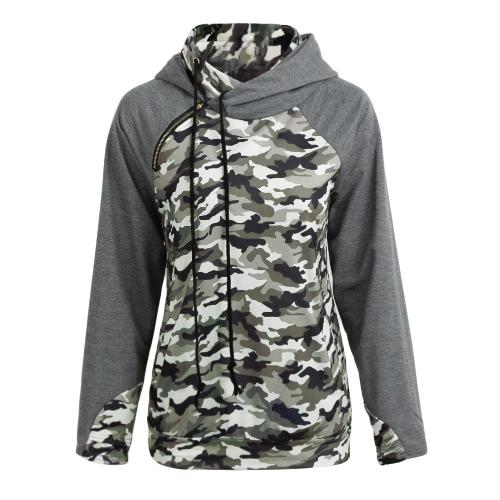 Frauen Camo Kapuzenpullover Camouflage Splice Lange Ärmel Reißverschluss Taschen Casual Hoodies Top