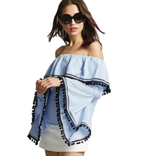 Blusa rayada de las mujeres Sexy de hombro Ruffle Flare Sleeves Casual camisa superior elegante azul
