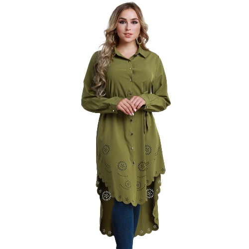 Las mujeres de la manera más la camisa de manga larga de las flores del tamaño ahuecan hacia fuera las tapas irregulares de la blusa de la camisa con correa
