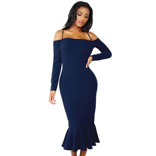 Vestido de sirena de las mujeres de manga larga fuera del hombro correa de espagueti partido vendaje vestido de mediana trompeta Vestdios