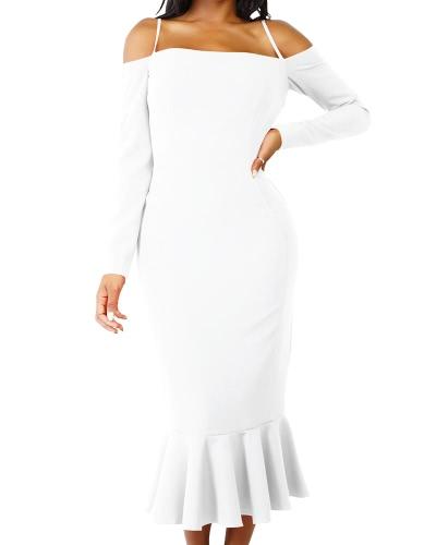 Women Mermaid Dress Long Sleeves Off Shoulder Spaghetti Strap Party Bandage Midi Dress Trumpet Vestdios
