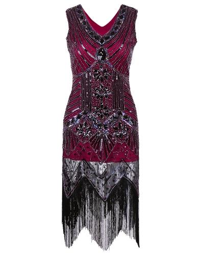 Kobiety Sukienka Sequined Frezowanie Tassel Fringe V Neck Bez rękawów Bodycon Party Clubwear One-Piece