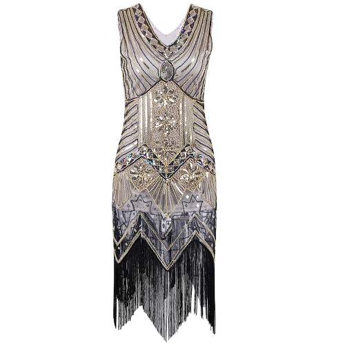 Women Dress Sequined Beading Tassel Fringe V Neck Sleeveless Bodycon Party Clubwear One-Piece