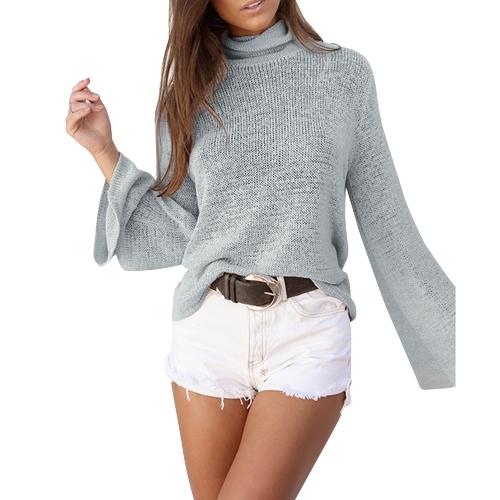 Suéter de cuello alto de manga larga de cuerno de mujer