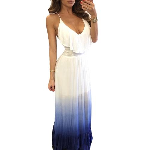 Vestido maxi de las mujeres atractivas correa de espagueti cuello en V sin mangas volantes impresión de degradado Casual A-Line vestido de la playa del vendaje