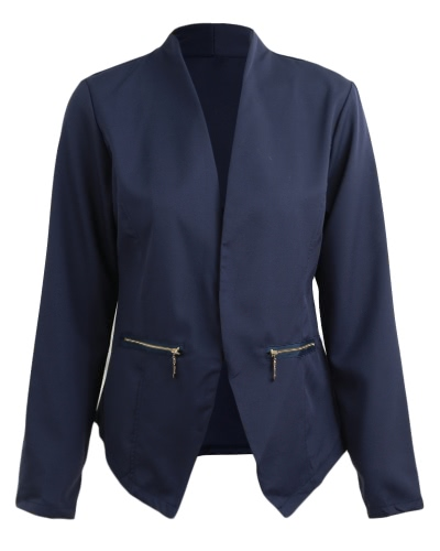 Autumn Spring Business Suit Mulheres Blazer Coat Outwear Long Sleeves High-Low Hem Elegant Jacket