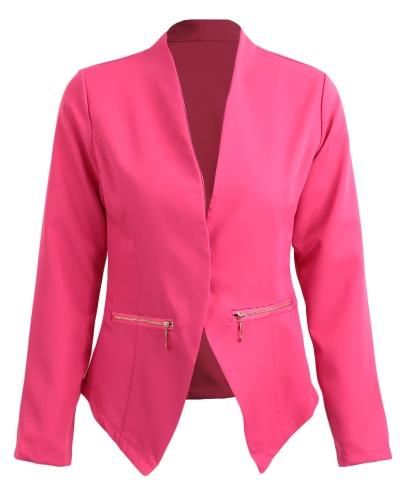 Otoño Primavera traje de negocios Blazer Coat Mujeres Outwear mangas largas Alto-Bajo Hem elegante chaqueta