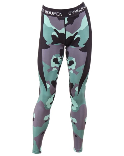 New Fashion Women Camouflage Printed Leggings Slim Fitness Gym Yoga Joggers Cropped Pants Trousers Green