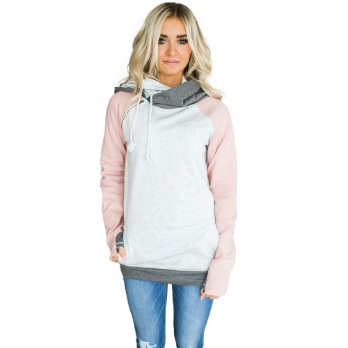 Mulheres Moletons com capuz Sweatershirt Color Splicing Manga comprida Front Pockets Hoody Pullovers Outwear