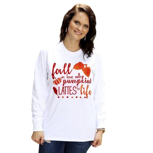 Neue Herbst T-Shirt Halloween Kürbis Brief drucken O-Neck mit langen Ärmeln T Shirt Top White