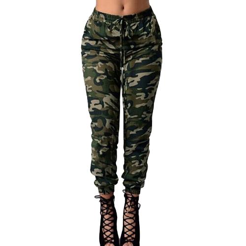 Moda Mulheres Calças compridas Camuflagem Imprimir Calças elásticas Casual Camo Calças Verde