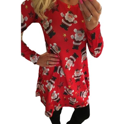 Vestido de fiesta de impresión de Navidad las mujeres Elk copo de nieve manga larga Casual otoño invierno una línea de vestido de fiesta