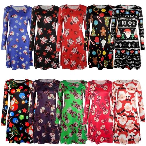 Frauen Weihnachten Print Kleid Elch Snowflake Langarm Casual Herbst Winter A-Line-Party-Kleid