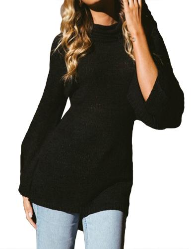 Women Knitted Sweater Long Sleeve Turtleneck High-Low Hem Bandage Split Solid Slim Jumper Pullover Knitwear Black/Grey