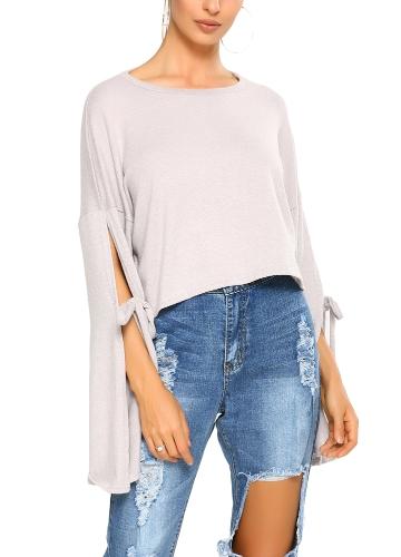 Las nuevas mujeres de la moda otoño invierno crop top cuello redondo tiras de raja mangas color sólido recorta la camiseta