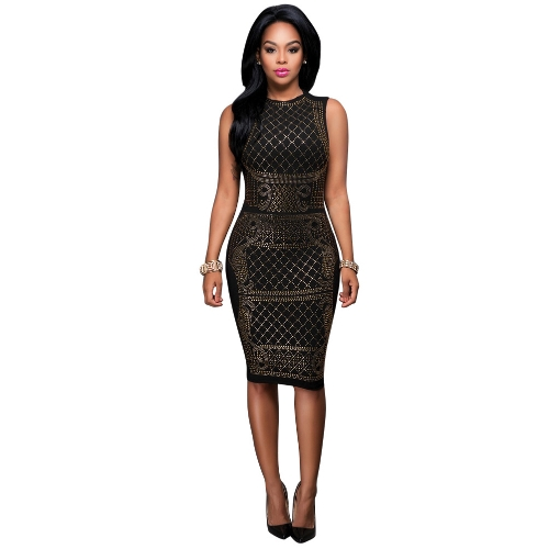 Mujeres Sexy Rhinestone Midi Dress con cuello en V sin mangas Bodycon Nightclub Party Pencil Dress Gold / Silver