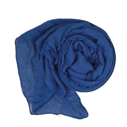 Neue Mode Frauen Schal Volltonfarbe Leinen Baumwolle National langen Schal Pashmina