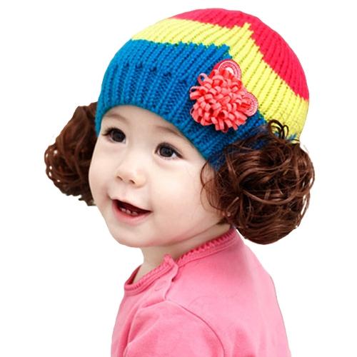 Симпатичные зимой дети девочек мальчиков Kintted шляпу конфеты цвет блока малышей младенцев теплый детей Beanie Cap