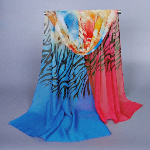 Anself Charming Contrast Color Zebra Flower Print Colorful Long Shawl Pashmina Scarf