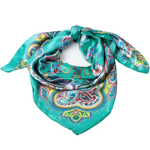 New Fashion Women Satin Kerchief Square Scarf Paisley Print Thin Shawl Pashima Vintage Scarf