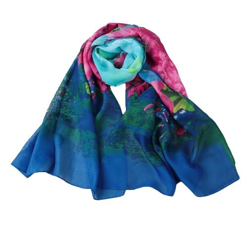 New Mulheres Moda Chiffon lenço colorido Floral padrão do impressão Gradiente longo xale Pashmina Elegante Magro Scarf