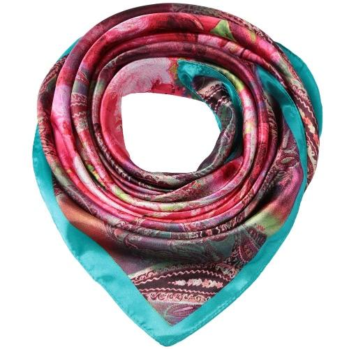 Mujeres Pañuelo de satén floral Sheen impresión bufandas de la bufanda de la vendimia fina pashmina pañuelo de gran tamaño