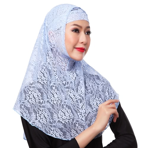 New Fashion Full Cover Muslim Hijab Two Piece Set Lace Solid Islamic Turban Cap Beanies