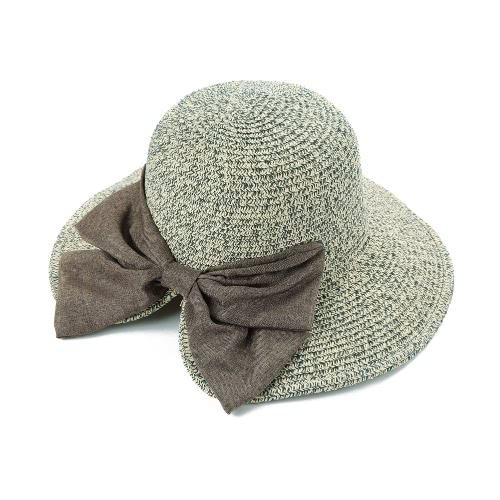 Nowe mody Kobiety Straw Hat Bowknot Duży Rolled Brim Składany Słodki Vintage Sun Summer Beach Cap