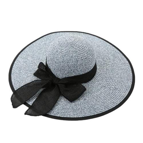 Forme a mujeres sombrero para el sol sombrero de paja de ala ancha sólido con cordones del verano Sunbonnet Playa Sombrero de Panamá