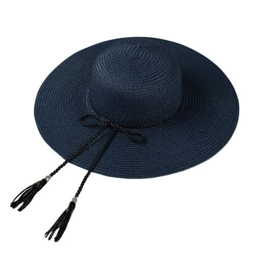 Moda verano de las mujeres de paja de ala ancha sombrero flojo de la borla plegable de Sun Beach Holiday casquillo ocasional