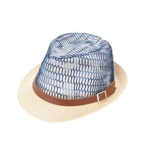 Muchacho de la muchacha de la moda sombrero de paja contraste hueco de malla transparente de la correa unisex del bebé de los niños del sombrero del casquillo del sombrero flexible Panamá Jazz Fedora Ala rizado