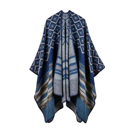 Invierno Mujer Loose Outerwear Coat Oversized Poncho de cachemira de punto