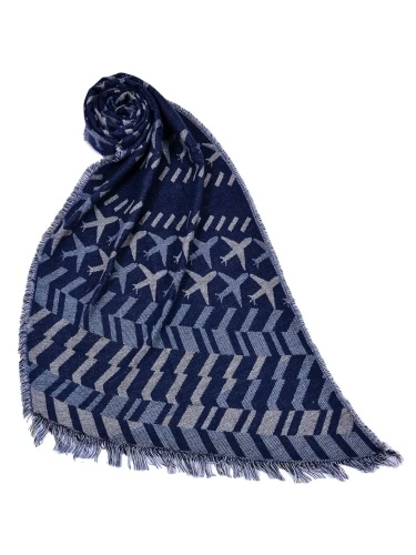 New Women Long Scarf Airplane Pattern Print Contrast Color Tassels Vintage Shawl Cape