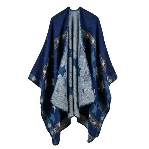 Nuevas mujeres de punto poncho de la estrella del cabo Oversized Cardigan suéter Long Shawl Scarf Cashmere Pashmina