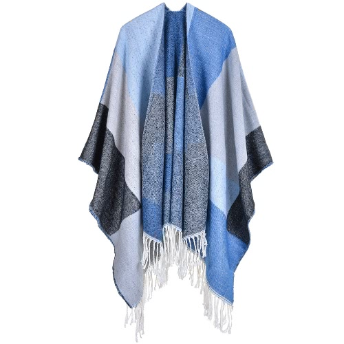 Mulheres Poncho cachecol Cardigan Sweater Tassels Color Block Quente Shawl cabo cachecol longo Pashmina Outwear