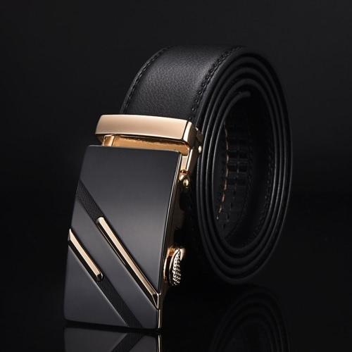 Moda diseño moderno correa de cuero cinturón de negocios casual aleación de zinc automática dos tiras patrón hebilla masculina pantalones ocio cintura para los hombres cinturón de cintura ancha