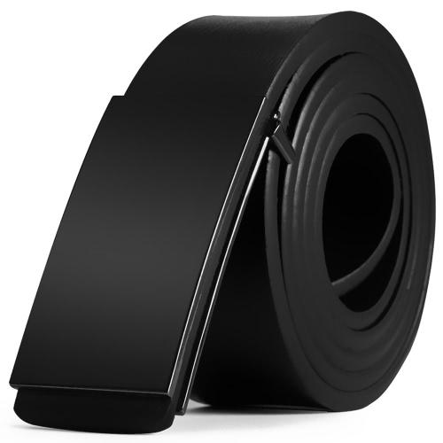Moda de diseño moderno correa de cuero cinturón de negocios informal de aleación de zinc automática de metal lisa brillante hebilla masculina pantalones de ocio cintura para hombres faja