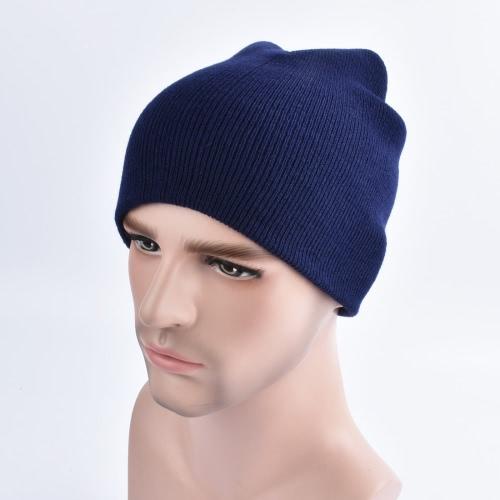 Mode Hommes Femmes Plain Beanie Chapeau en tricot Chapeau chaud hiver Chapeau crâne Unisexe