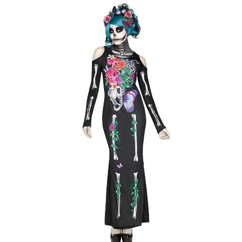 Halloween Women Skeleton Print Dress Costume Bones Floral Off Shoulder Manga comprida Maxi Long Dress Club