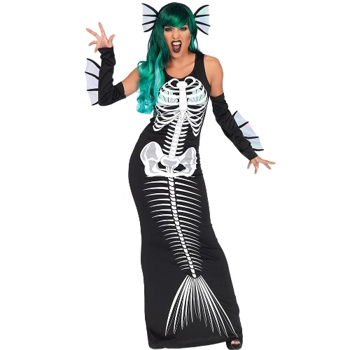 Frauen Halloween Skeleton Siren Kostüm Kleid Ärmellos Cosplay Party Maxi Slim Tank Kleid 3 Stück Set