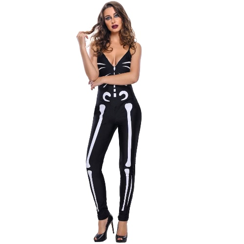 Sexy Women Glow Skeleton Jumpsuit Traje de Halloween Deep V Neck Sleeveless Slim Masquerade Playsuits com luvas Preto