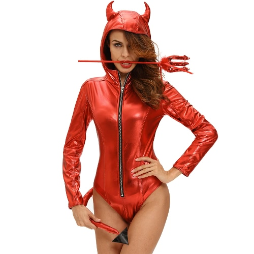 Kobiety Halloween Costume Demon Diabeł Z Kapturem Bodysuit Rompers Sexy Seksowną Grupę Cosplay Role Play Jumpsuit Playsuit Czerwony