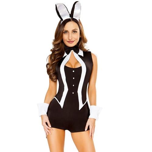 Sexy Women 5 Piece Tuxedo Bunny Costume Tux e Tails Halloween Cosplay Uniform Black