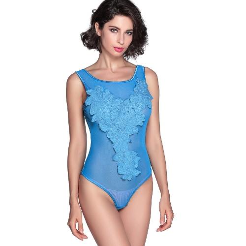 Sheer caliente atractivo de las mujeres bordado floral de malla Body Trajes exótico de la ropa interior ropa de dormir ropa de dormir de peluche